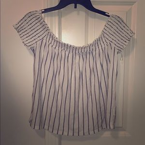 Black and white striped off the shoulder shirt